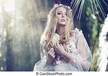 femme, soleil, rayons, délicat, fond, magnifique