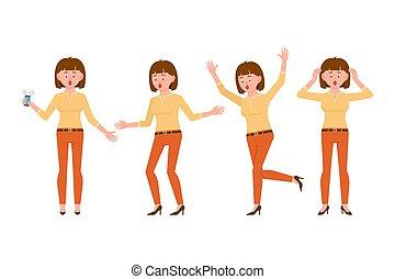 femme, souci, orange, caractère, illustration., effrayé, sous, jeune, dessin animé, nerveux, pantalon, cheveux, pression, stupéfié, brun, choqué, surpris, accentué, vecteur, girl, ensemble