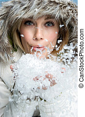femme, souffler, neige