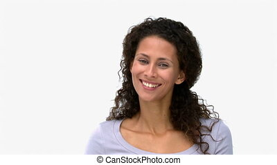 femme souriant, appareil photo, devant