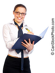 femme souriant, business