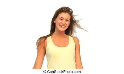 femme souriant, devant, beau