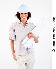 femme souriante, architecte, plans, tenue