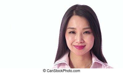 femme souriante, asiatique, japonaise
