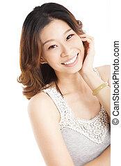femme souriante, asiatique, jeune