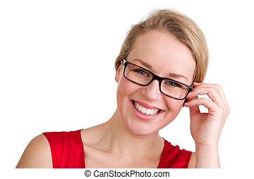 femme souriante, blonds, lunettes