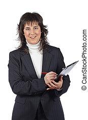 femme souriante, business, écriture