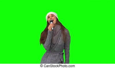 femme souriante, chant, jeune