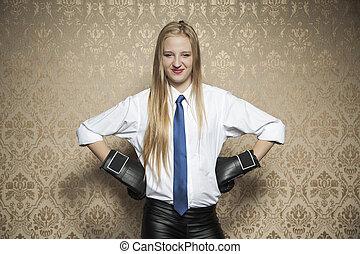 femme souriante, gants, boxe, business