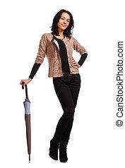 femme souriante, parapluie, jeune