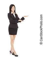 femme souriante, présentation, business