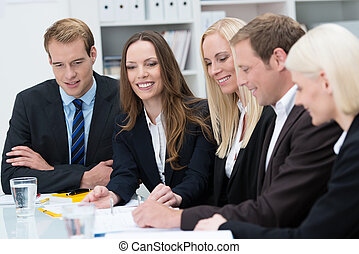 femme souriante, réunion, jeune, business