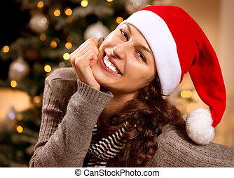 femme souriante, santa, hat., girl, noël, heureux