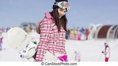 femme souriante, ski, jeune, bottes