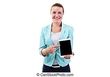 femme souriante, toucher, tablette