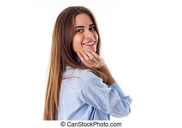 femme souriante, visage émouvant