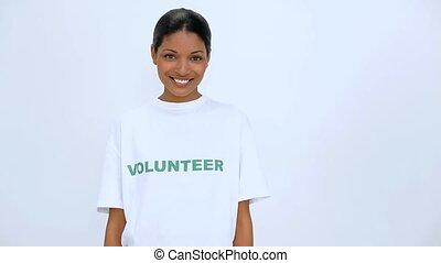 femme souriante, volontaire