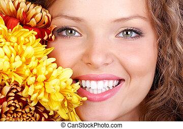 femme, sourire