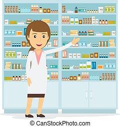 femme, sourire, pharmacien