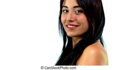 femme, sourire., regarder, jeune adulte, appareil photo
