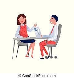 femme, spécialiste, séance, hr, jeune, illustration, employeur, conversation, métier, vecteur, jobseeker, fond, entrevue, table, blanc, avoir