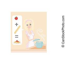 femme, spaghetti, cuisine