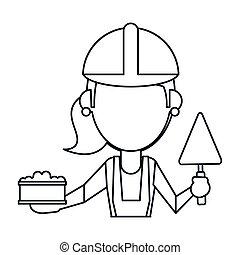 femme, spatule, construction, ligne mince, brique