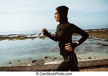 femme, sport, musulman, coureur, extérieur
