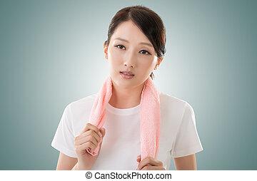 femme, sportif, asiatique
