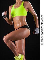 femme, sportif, body., image, jeune, tondu, sports, poser, contre, fond, habillement noir