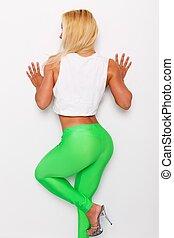 femme, sportif, vert, blonds, sexy, jambières