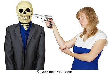 femme, squelette, menace, -, personne, pistolet
