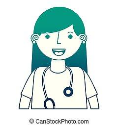 femme, stéthoscope, uniforme, docteur