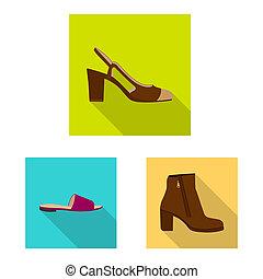 femme, stock., objet, isolé, bitmap, ensemble, chaussures, pied, logo., icône
