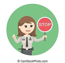 femme, stop, officier, fond, sécurité, cercle