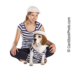 femme, studio, chien