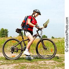 femme, style de vie, sain, jeune, équitation, dehors., vélo, heureux