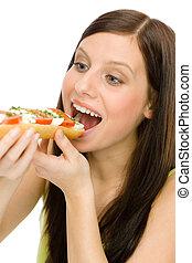 femme, style de vie, sain, -, sandwich, caprese, manger