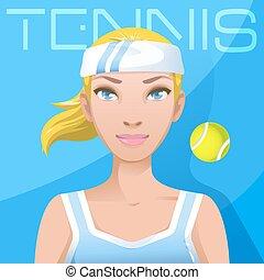 femme, style de vie,  tennis, jeune,  avatar, joueur, actif,  Sport