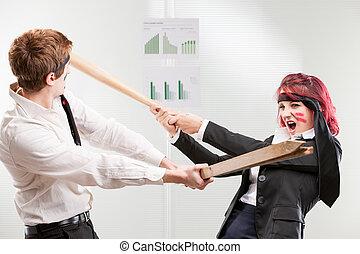 femme, succès, contre, lieu travail, guerre, homme