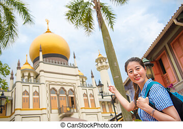 femme, sultan, voyage, singapour, asie, masjid, heureux