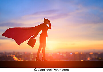 femme super, silhouette, business