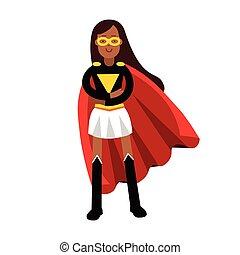 femme, superhero, classique, jeune, illustration, vecteur, noir, cap, robe, rouges