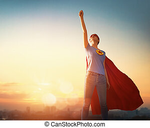femme, superhero, déguisement