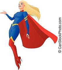 femme, superhero, isolé, illustration, arrière-plan., vecteur, presenting., blanc, dessin animé