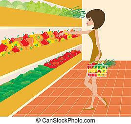 femme, supermarché