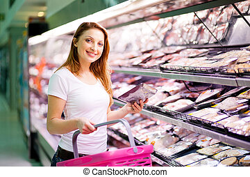 femme, supermarché, jeune, achats