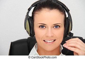 femme, support client, opérateur