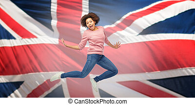 femme, sur, anglaise, drapeau, américain, sauter, africaine