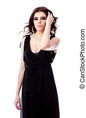 femme, sur, arrière-plan noir, portrait, sérieux, robe blanche